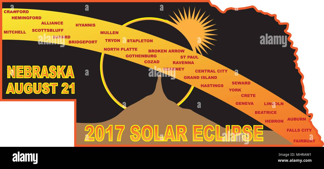 2017 Solar Eclipse Totality Across Nebraska State Cities Map Color