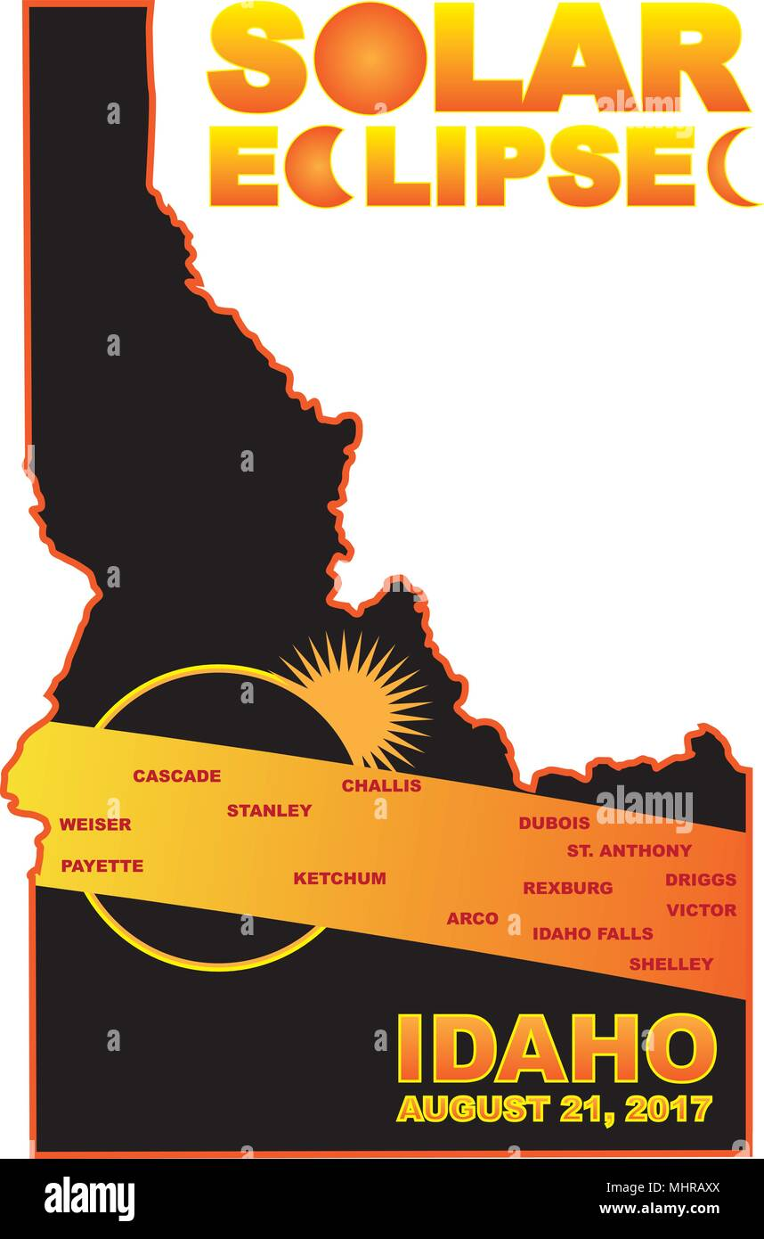 2017 Solar Eclipse Totality across Idaho State cities map color illustration - Stock Vector