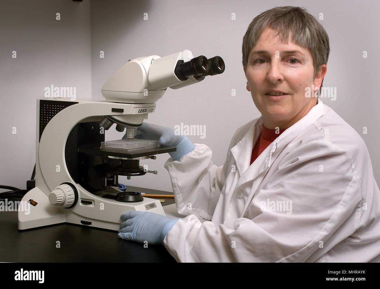 Centers for Disease Control Meningitis and Special Pathogens Branch (MSPB) laboratorian, Sandra Bragg, sitting in front of a microscope, 2005. Image courtesy Centers for Disease Control (CDC) / Maryam I. Daneshvar. () - Stock Image
