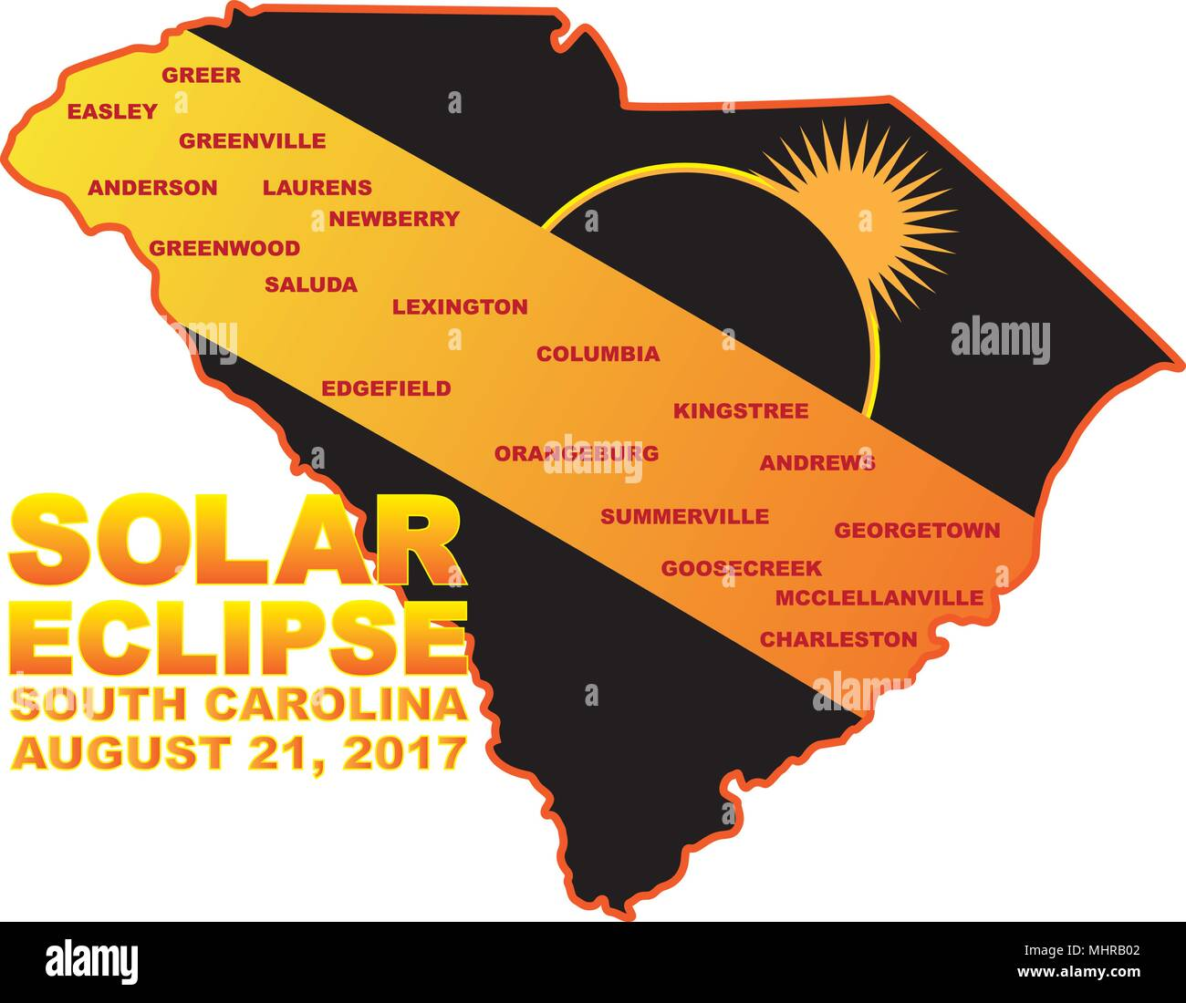 2017 Solar Eclipse Totality across South Carolina State cities map ...