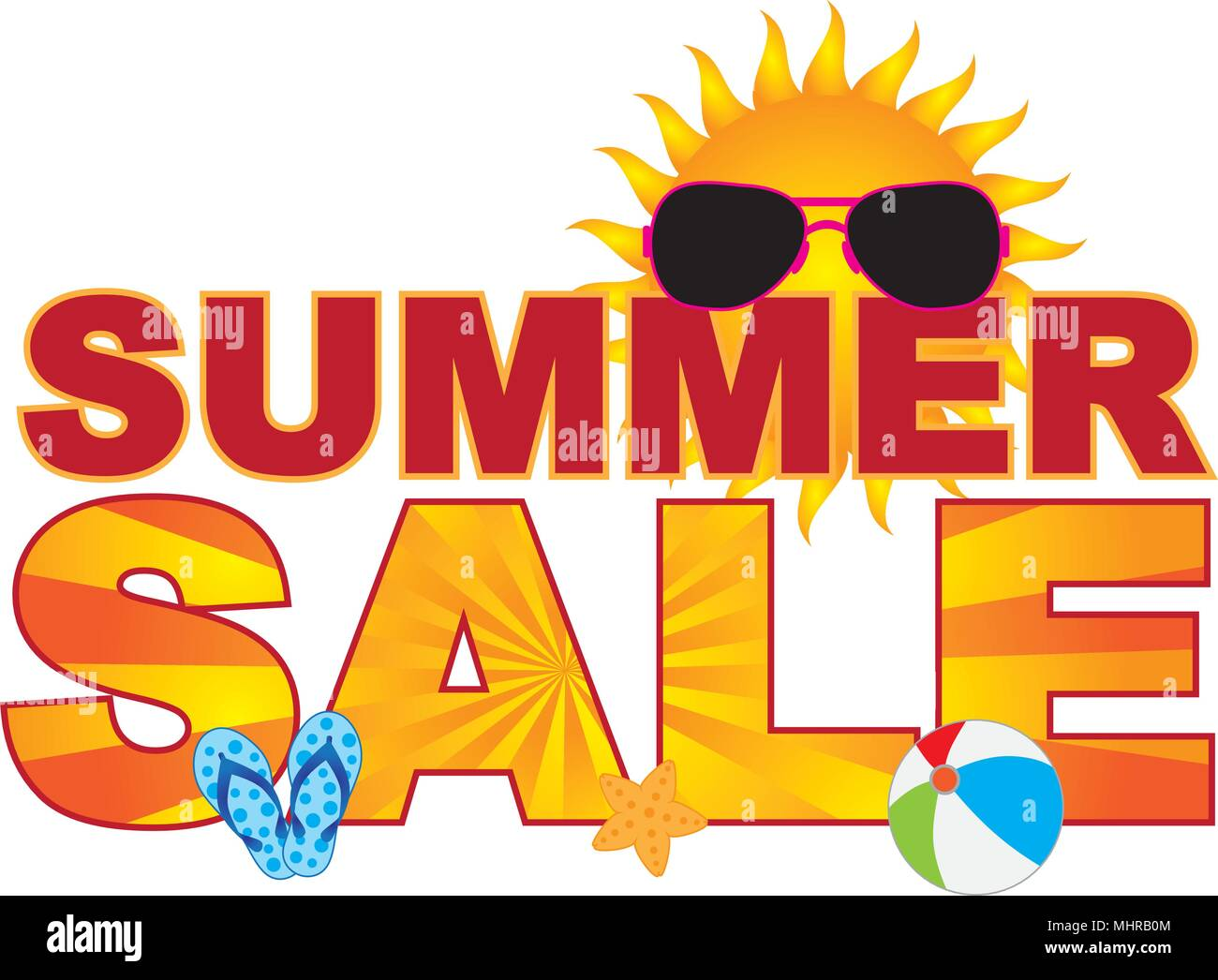 827b80307d4c Summer Sale retail store sign banner with sunglasses flip-flop beach ball  sun illustration -