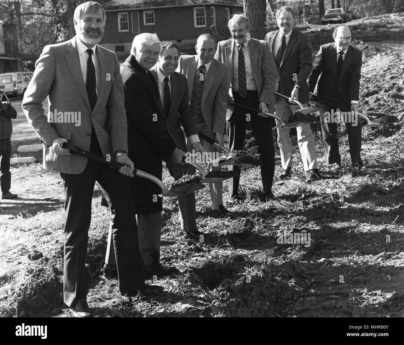 Centers for Disease Control (CDC) officials holding shovels, Roybal Campus, Clifton Road, Atlanta, Georgia, 1985. Image courtesy Centers for Disease Control. () - Stock Image