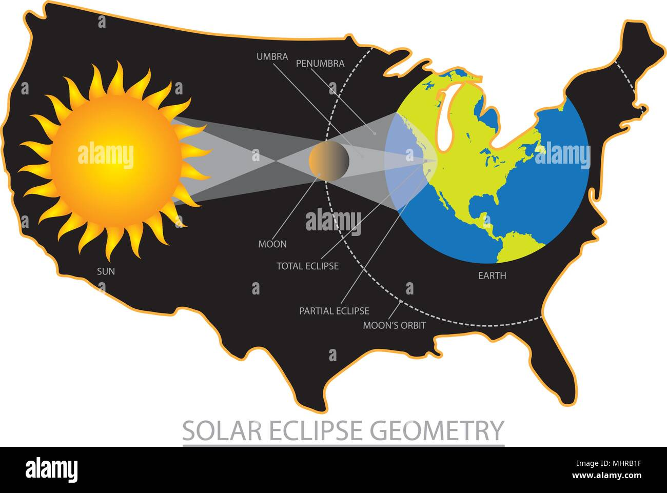2017 Total Solar Eclipse across America USA map outline ...