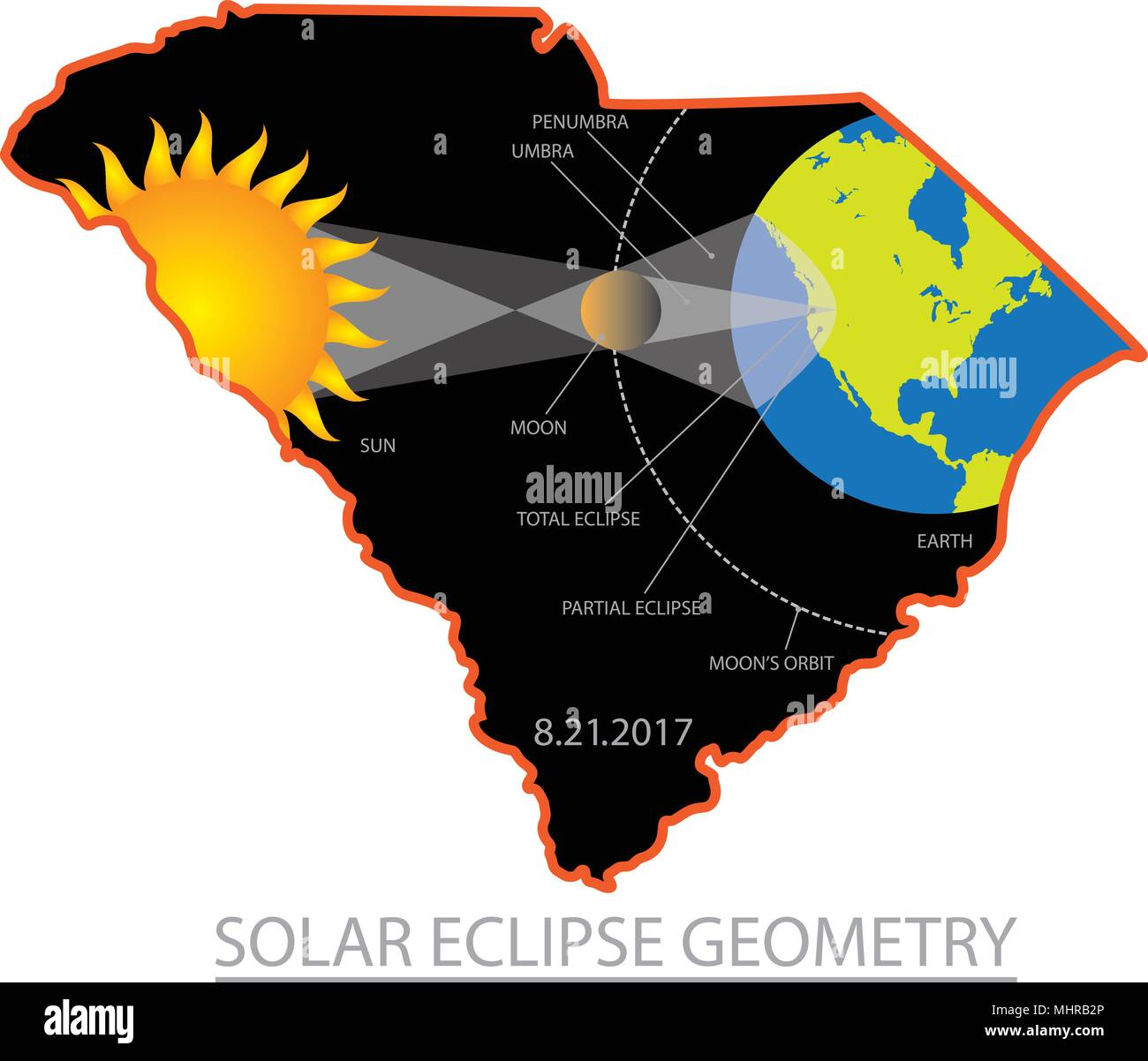 Picture of: 2017 Solar Eclipse Geometry Totality Across South Carolina State Cities Map Color Illustration Stock Vector Image Art Alamy