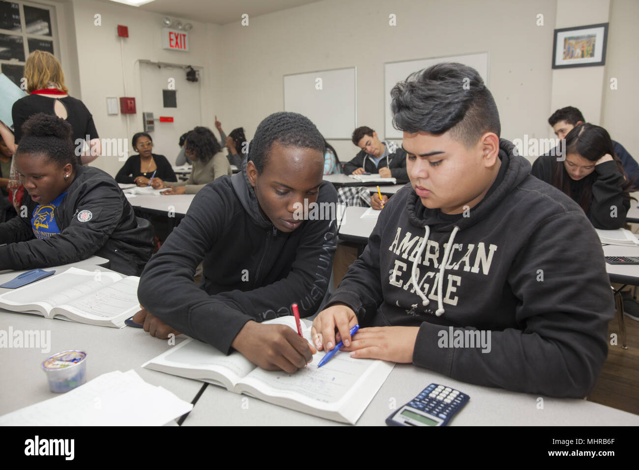 College bound high school students participate in a College Now program to prepare for SAT tests and filling out college applications, After school pr Stock Photo