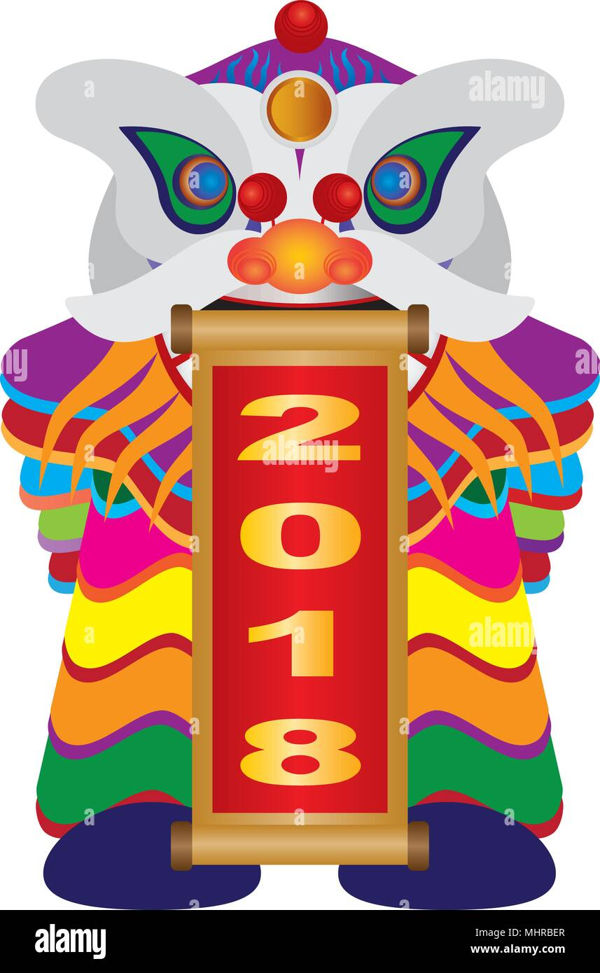 chinese new year colorful lion dance holding scroll with numerals 2018 happy new year isolated on white background illustration