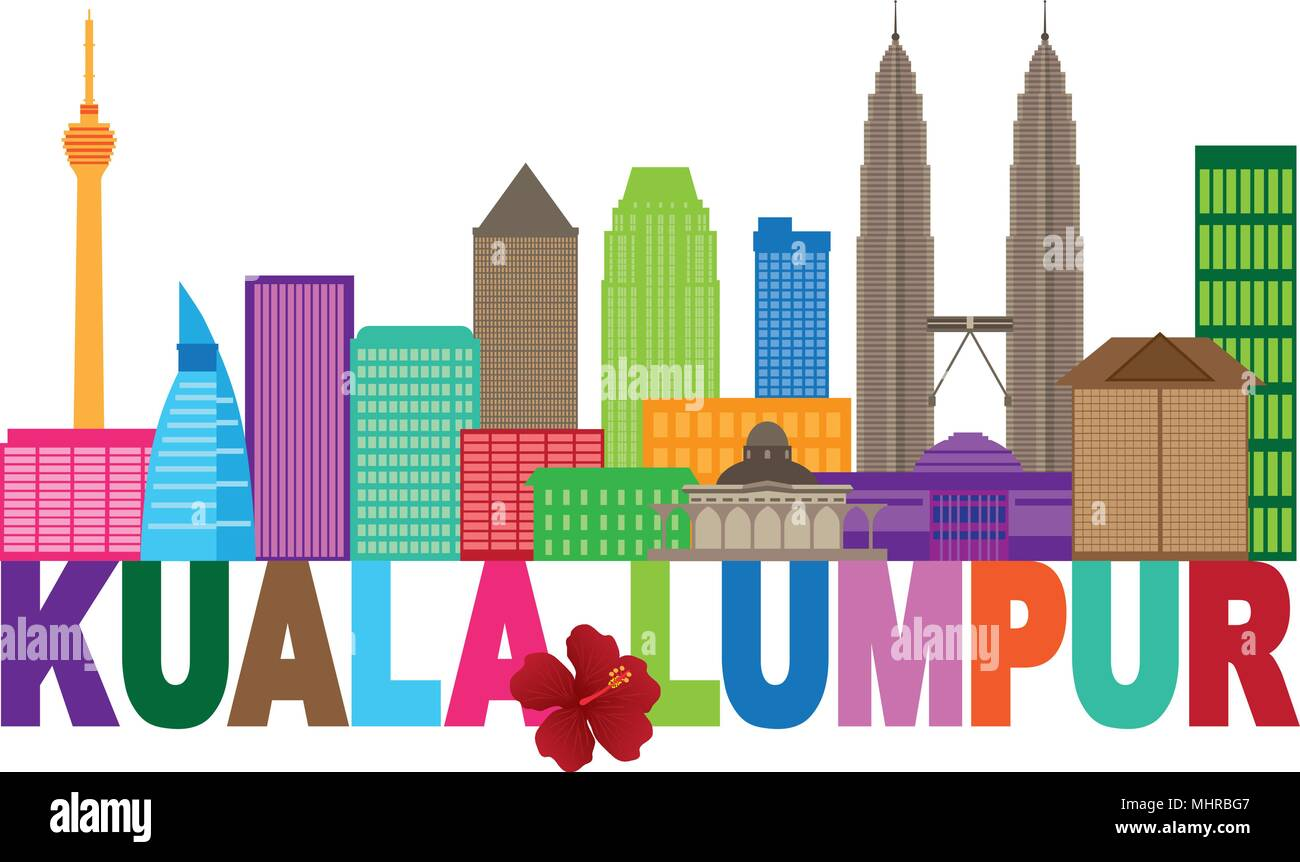 Kuala Lumpur Malaysia City Skyline Color Text Stae Flower Hisbicus Isolated on White Background Illustration - Stock Vector