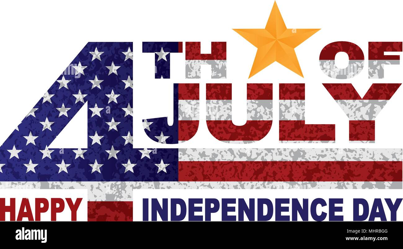 4th Of July Happy Independence Day American Flag Grunge Texture Outline Gold Star Illustration