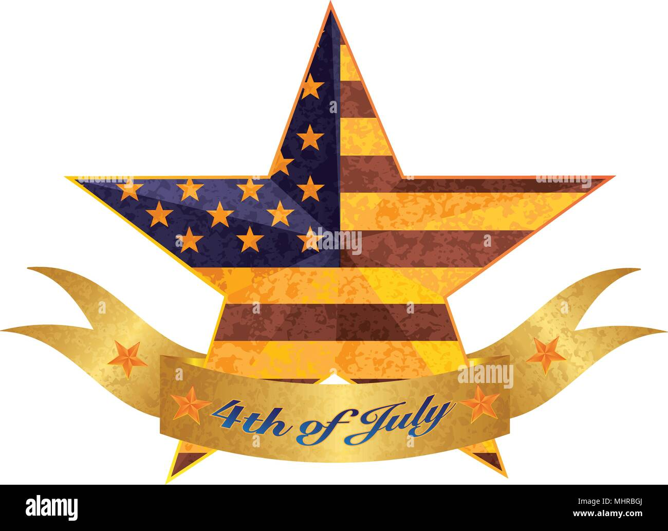 4th of July Banner Independence Day 3D Star Shape with USA American Flag Grunge Texture Illustration - Stock Vector