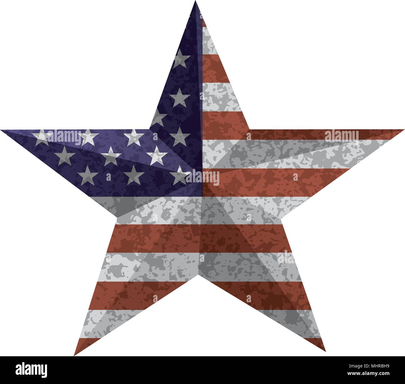 4th of July Independence Day 3D Star Shape with USA American Flag Grunge Texture Illustration - Stock Vector