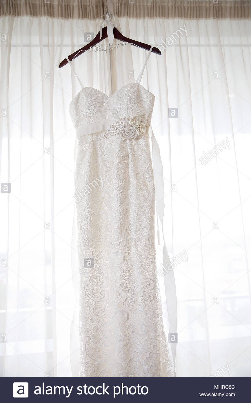 Bride\'s Gown On Hanger Waiting To Be Worn To Her Wedding Stock Photo ...