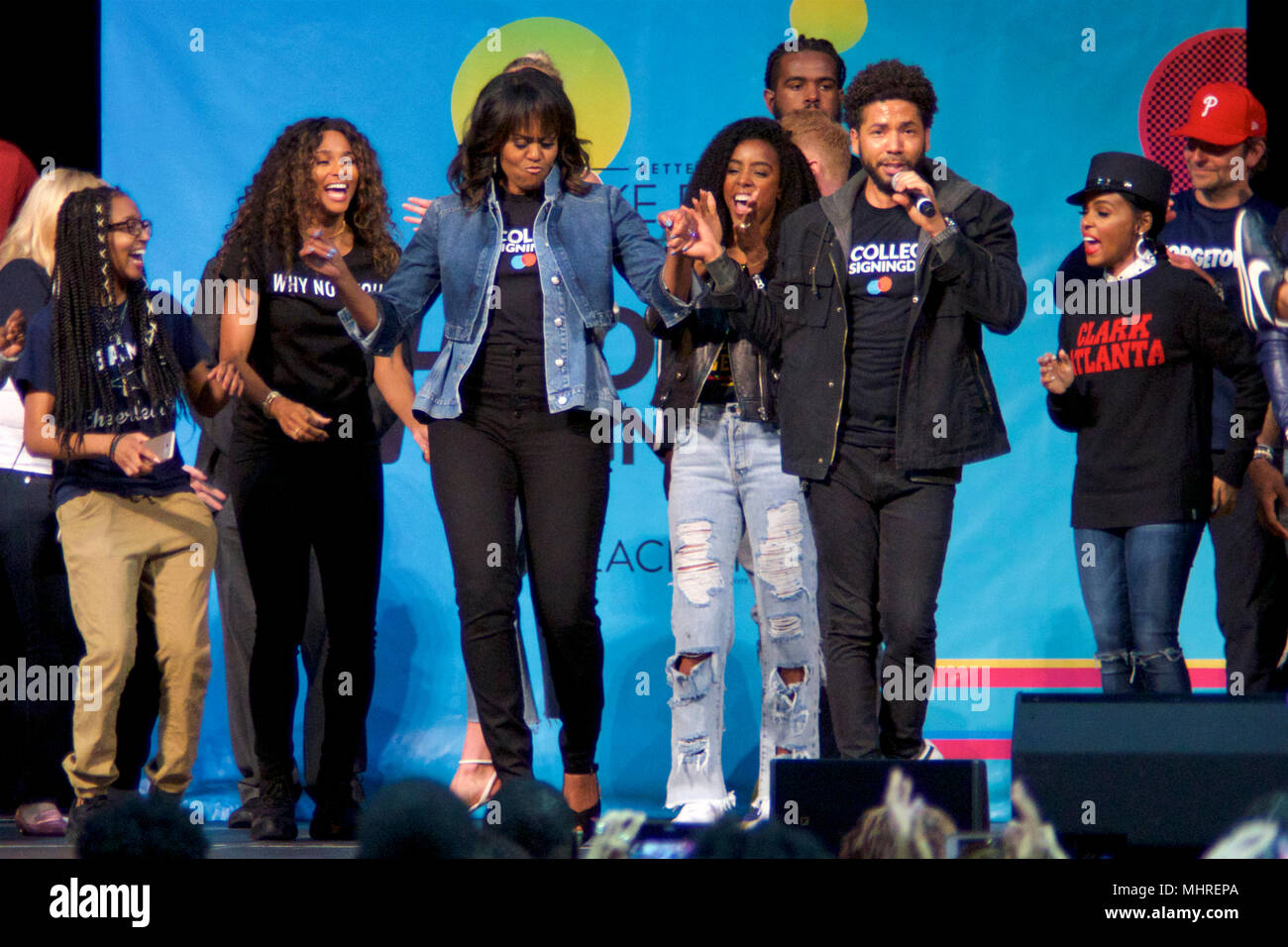 Philadelphia, USA. 2nd May 2018Michelle Obama is joined by students, stars, performing artists and athletes for the fifth  annual College Signing Day, hosted by Reach Higher, at Temple University's Liacouras Center in North Philadelphia, on May 2, 2018. The Former First Lady is joined by 7.000 students and (on stage) stars, performing artists and athletes including Bradley Cooper, Rebel Wilson, Zendaya, Robert De Niro, Camila Cabello, Questlove, Anthony Mackie and Janelle Monae. Credit: Bastiaan Slabbers/Alamy Live News Stock Photo