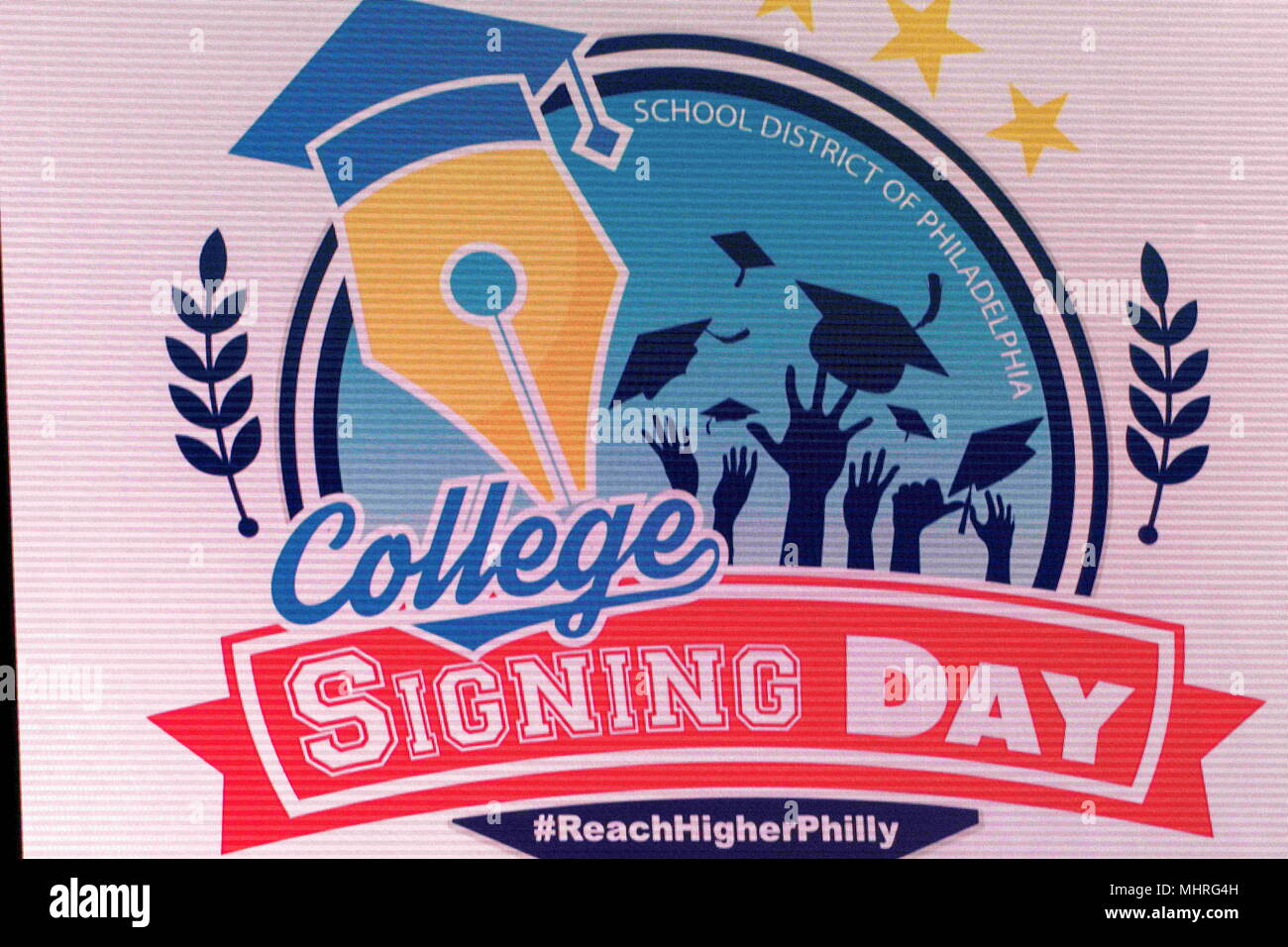 Philadelphia, Pennsylvania, USA. 2nd May, 2018. College signing day sign at Temple University's Liacouras Center in Philadelphia Pennsylvania Credit: Ricky Fitchett/ZUMA Wire/Alamy Live News Stock Photo
