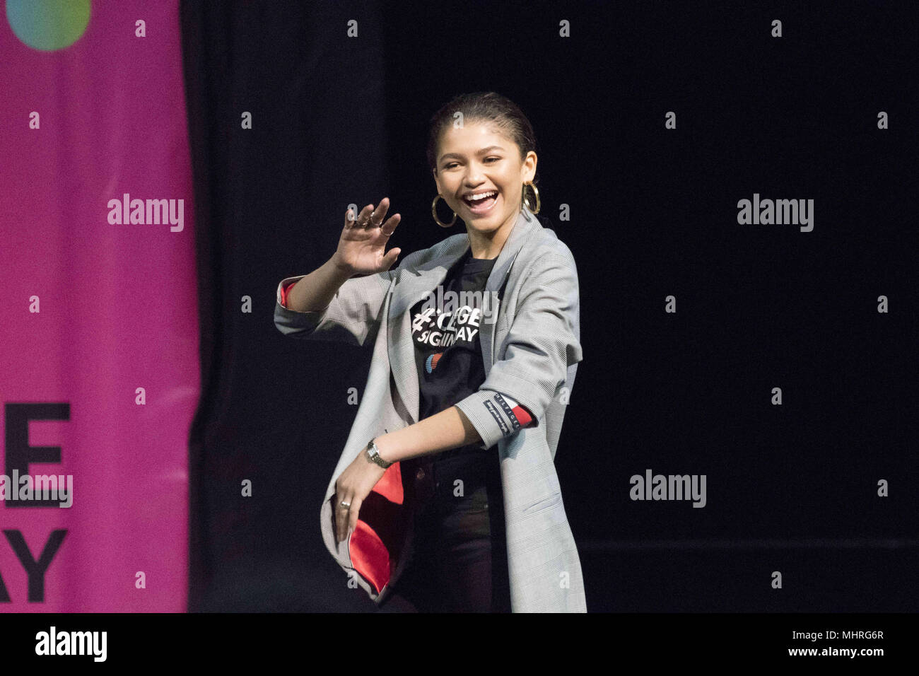 Philadelphia, Pennsylvania, USA. 2nd May, 2018. Actress, ZENDAYA, at the College signing day rally at Temple University's Liacouras Center in Philadelphia Pennsylvania Credit: Ricky Fitchett/ZUMA Wire/Alamy Live News Stock Photo