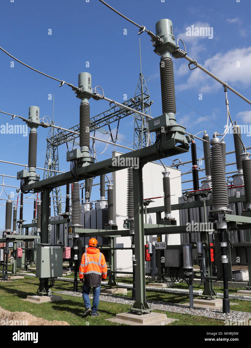 17 April 2018 Germany Bentwisch A Staff Member Of Grid Operator The Electric Circuits That Unit Which Converts Electrical Energy 50hertz Walks Through Large Switchboard At New Transformer Substation