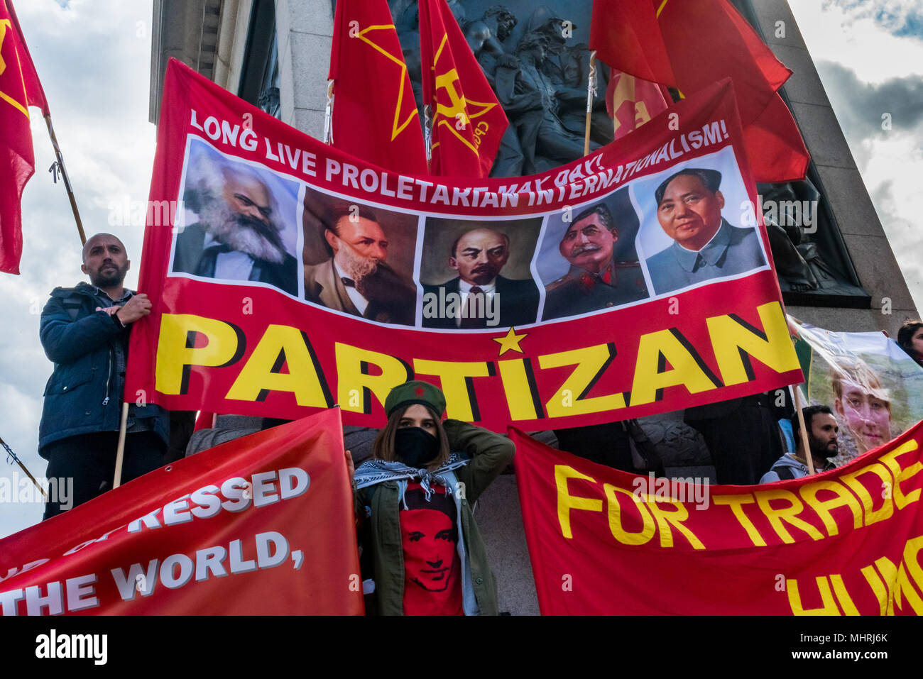 May 1, 2018 - London, UK. 1st May 2018. Partizan hold ther banner ...