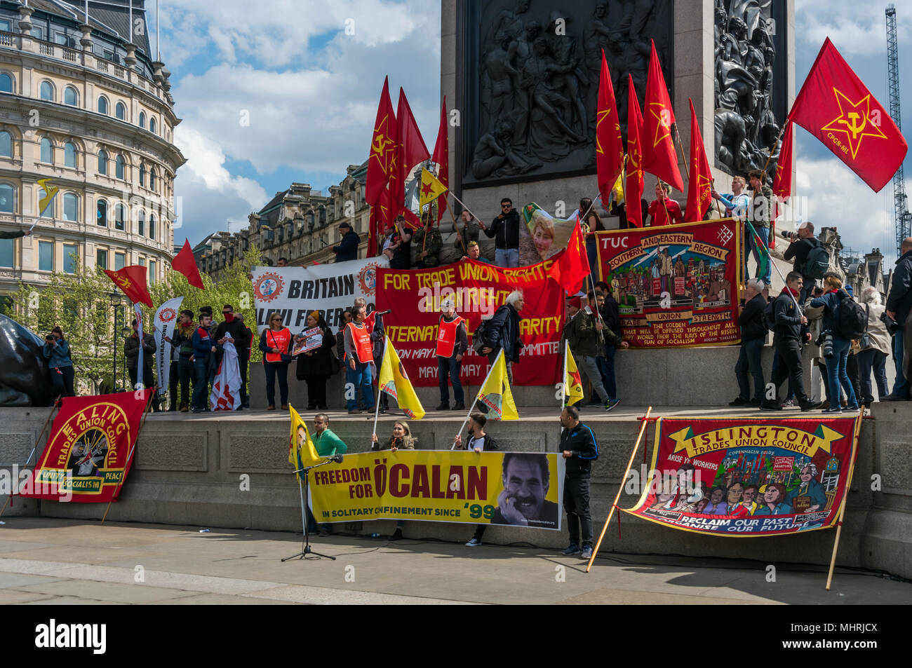 May 1, 2018 - London, UK. 1st May 2018. Banners and flags on the ...
