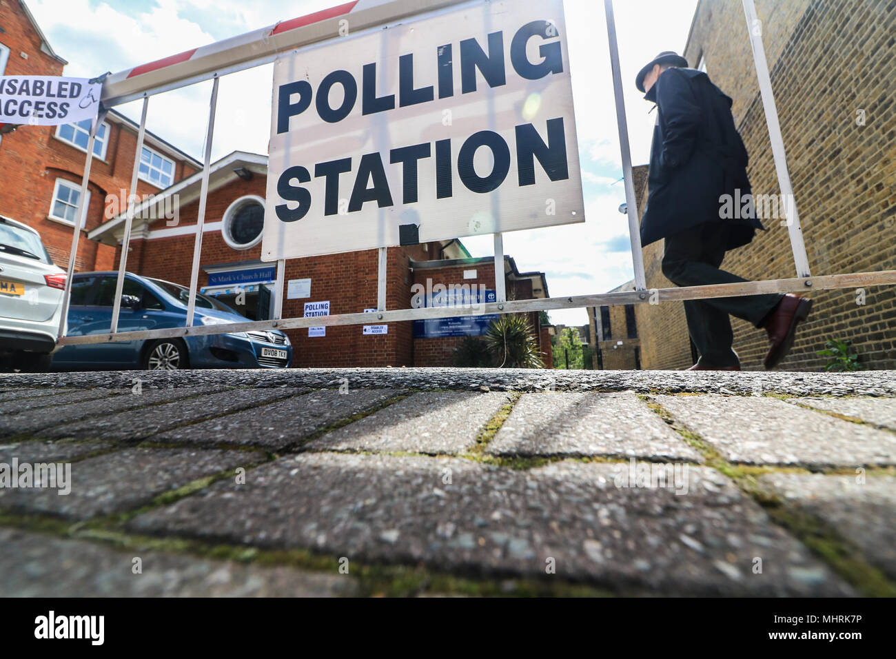 Wimbledon London UK. 3rd May 2018. Polling stations open in Wimbledon  as voters head to the polls to elect councils across  London Boroughs and cast their ballots in 156 areas across the country today, to elect  councillors and local mayors - Stock Image