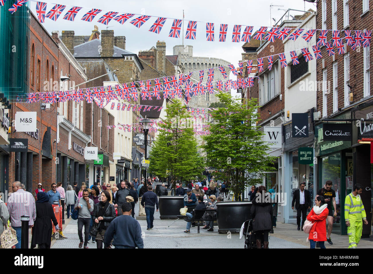 Windsor, UK. 3rd May, 2018. Union Jacks displayed in Windsor town centre in advance of the wedding of Prince Harry and Meghan Markle. Credit: Mark Kerrison/Alamy Live News Stock Photo