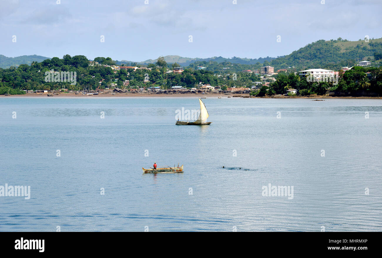 18 January 2018, Madagascar, Andoany : Coastal landscape near Andoany, capital of the island of Nosy Be off the north-west coast of Madagascar. | usage worldwide - Stock Image