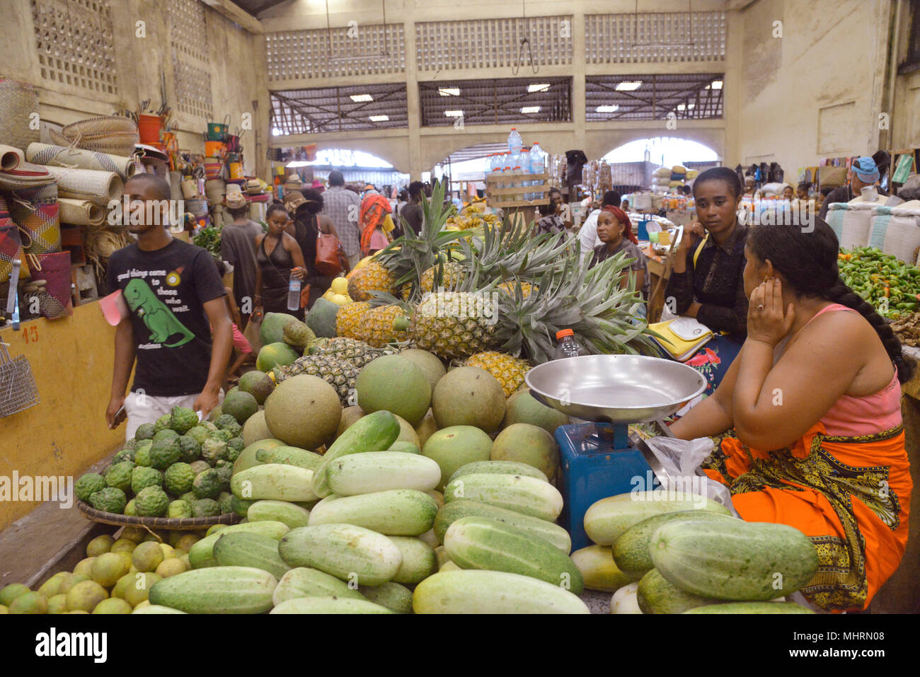 18 January 2018, Madagascar, Andoany: The market in Andoany on the island of Nosy Be off the north-west coast of Madagascar. | usage worldwide - Stock Image