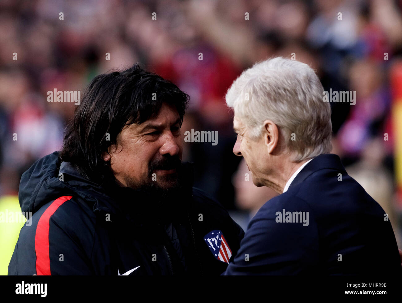 Madrid, Spain. 3rd May, 2018. Atletico de Madrid coach German Burgos and coach of Arsenal Arsene Wenger during the UEFA Europe League 2017/18 Semi final second leg match between Atletico de Madrid and Arsenal at Wanda Metropolitano Stadium in Madrid on May 3, 2018. (Photo by Guille Martinez/Cordon Press) Credit: CORDON PRESS/Alamy Live News - Stock Image