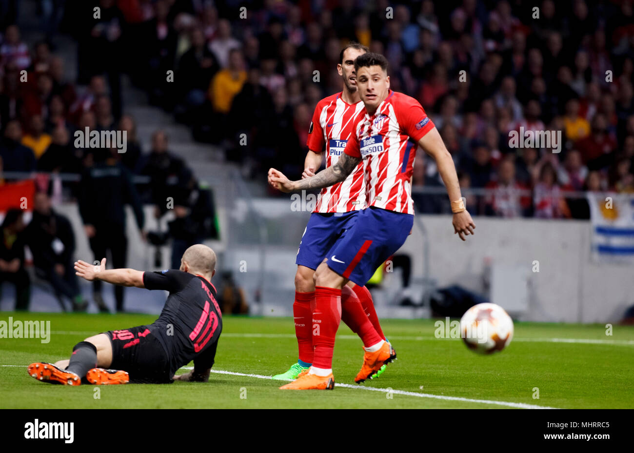 Madrid, Spain. 3rd May, 2018. Jose Maria Gimenez  of Atletico de Madrid and  Jack Wilshere of Arsenal during the UEFA Europe League 2017/18 Semi final second leg match between Atletico de Madrid and Arsenal at Wanda Metropolitano Stadium in Madrid on May 3, 2018. (Photo by Guille Martinez/Cordon Press) Credit: CORDON PRESS/Alamy Live News - Stock Image