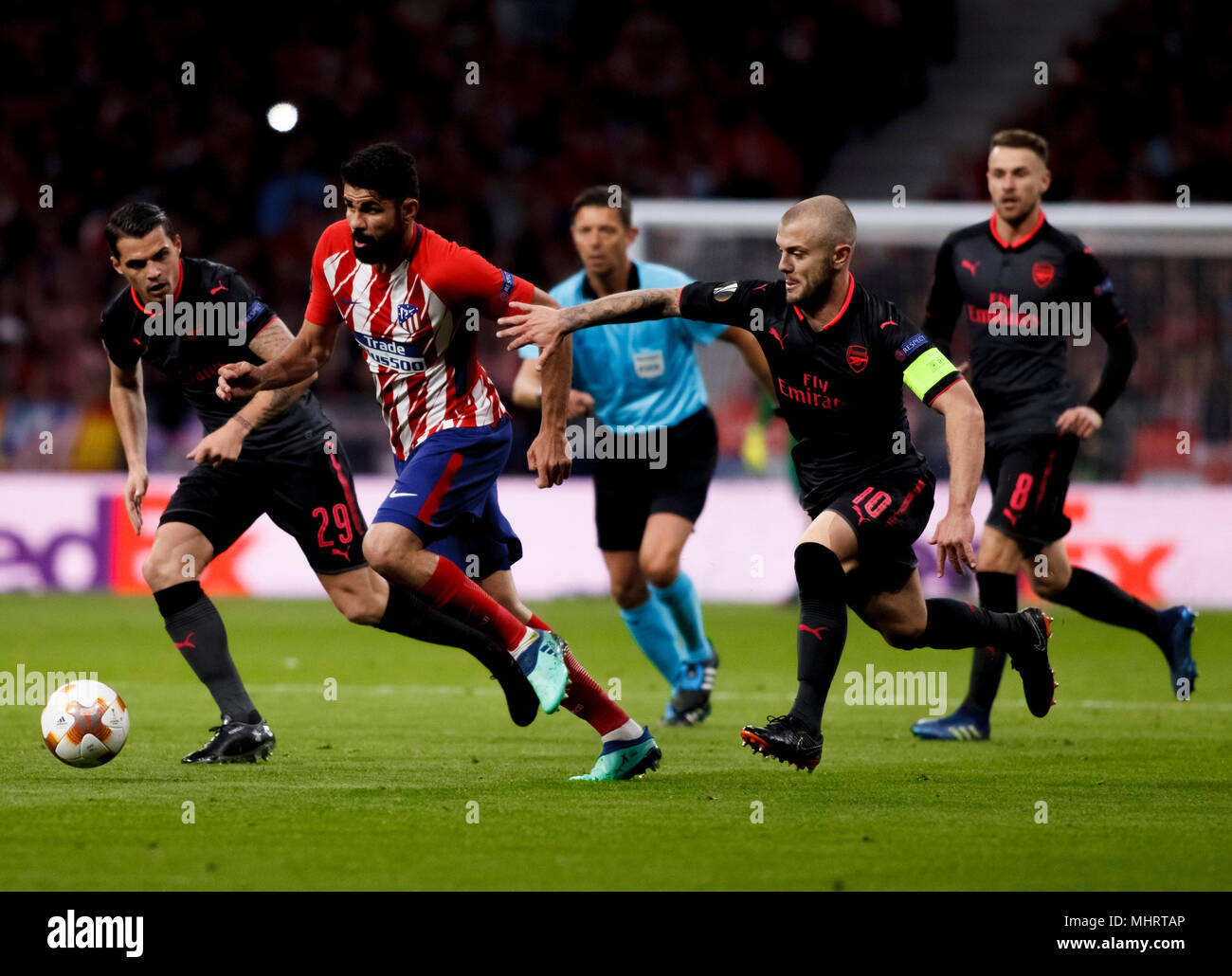 Diego Costa of Atletico de Madrid and  Jack Wilshere of Arsenal during the UEFA Europe League 2017/18 Semi final second leg match between Atletico de Madrid and Arsenal at Wanda Metropolitano Stadium in Madrid on May 3, 2018. (Photo by Guille Martinez/Cordon Press) - Stock Image