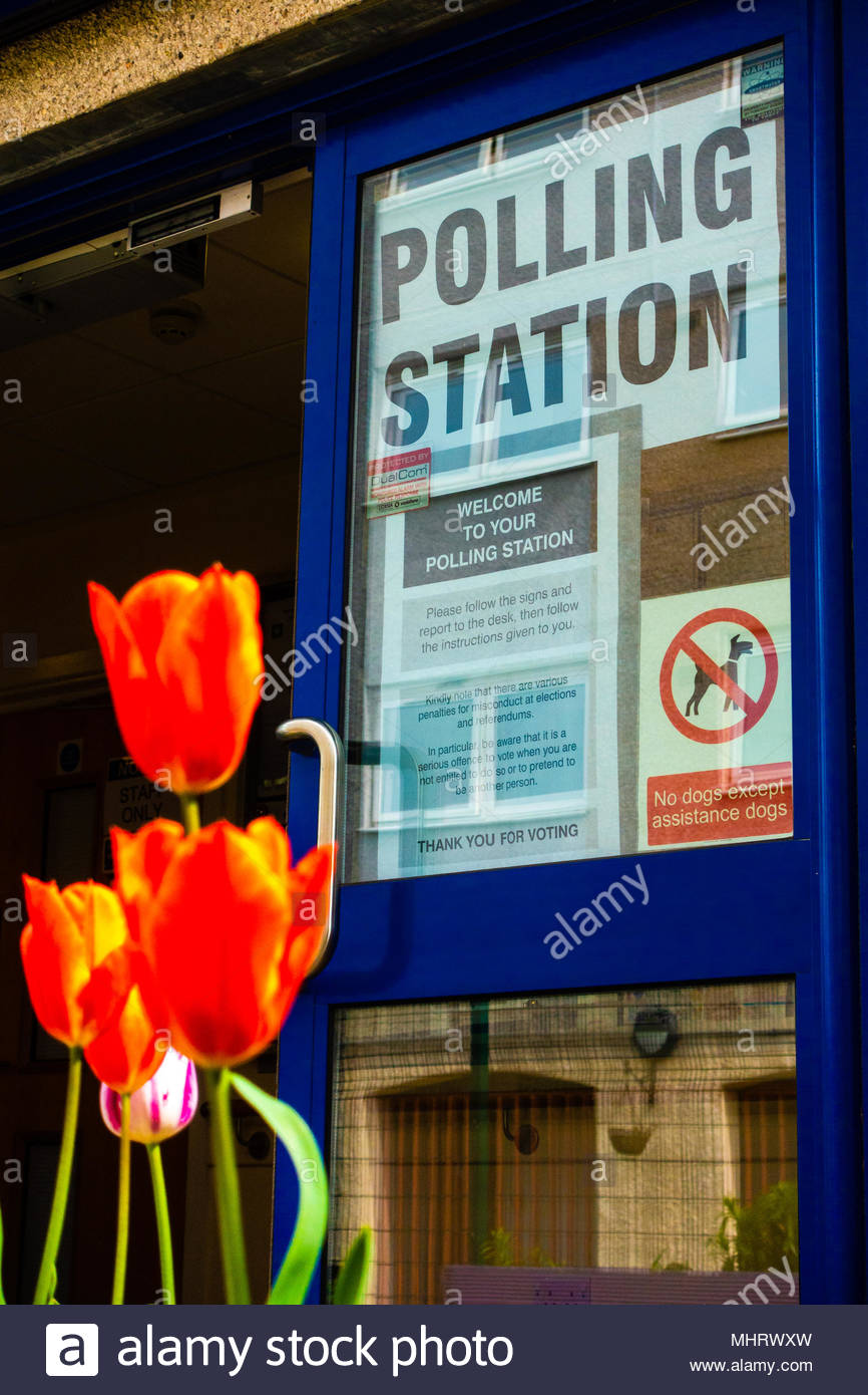 Merseyside,England UK. 03/05/2018 Knowsley Council Polling Station, Fairview Park, Halewood North, Liverpool Merseyside Knowsley, England UK. Flowers and plants adorn the entrance to  Community Centre where the 2018 Borough Elections are taking part, Credit: Christopher Canty Photography/Alamy Live News Stock Photo