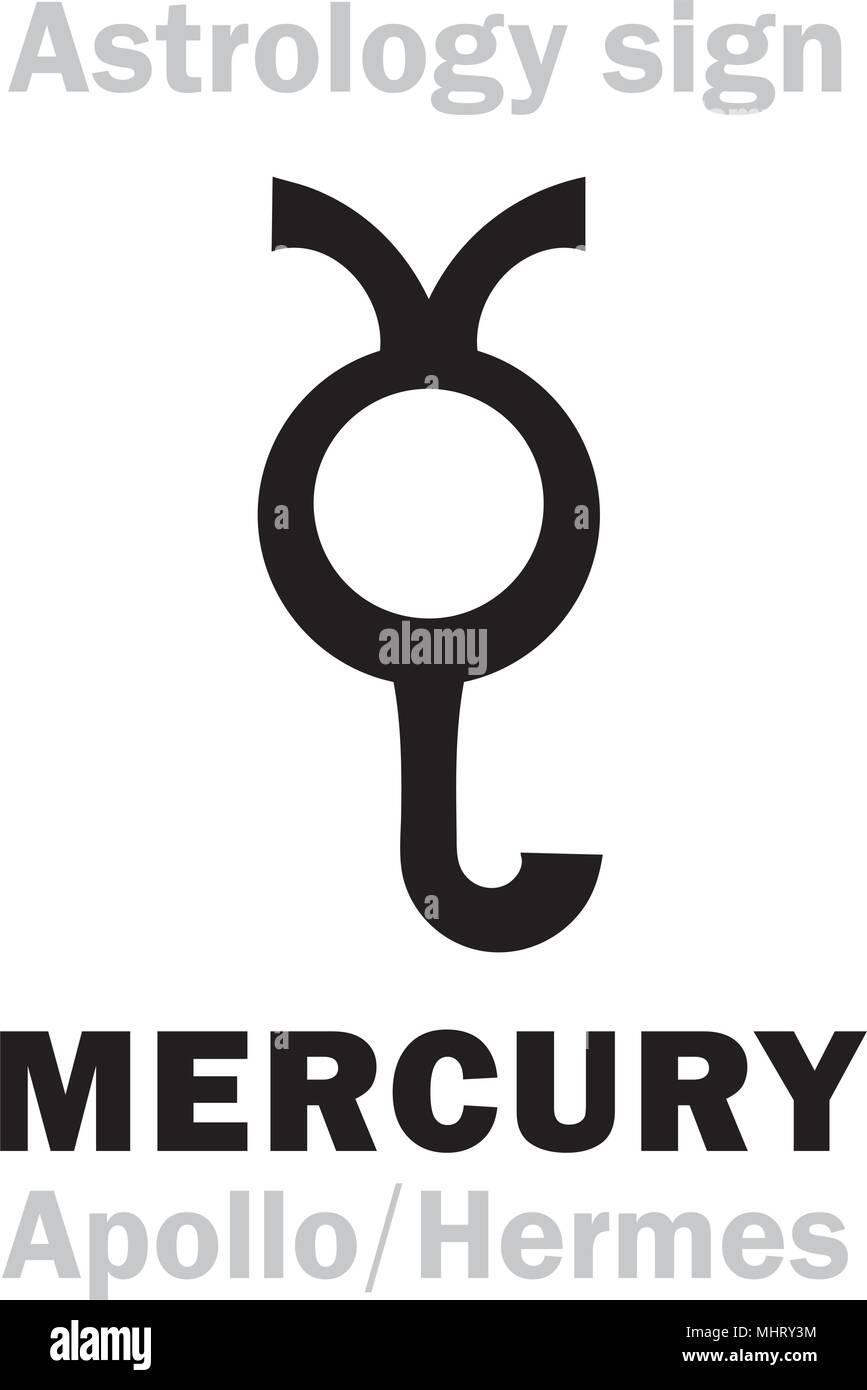 Astrology Alphabet: MERCURY (Stilbon/Apollo-Hermes), the planetary star (planet-homodrome). Hieroglyphics character sign (ancient greek symbol). - Stock Vector