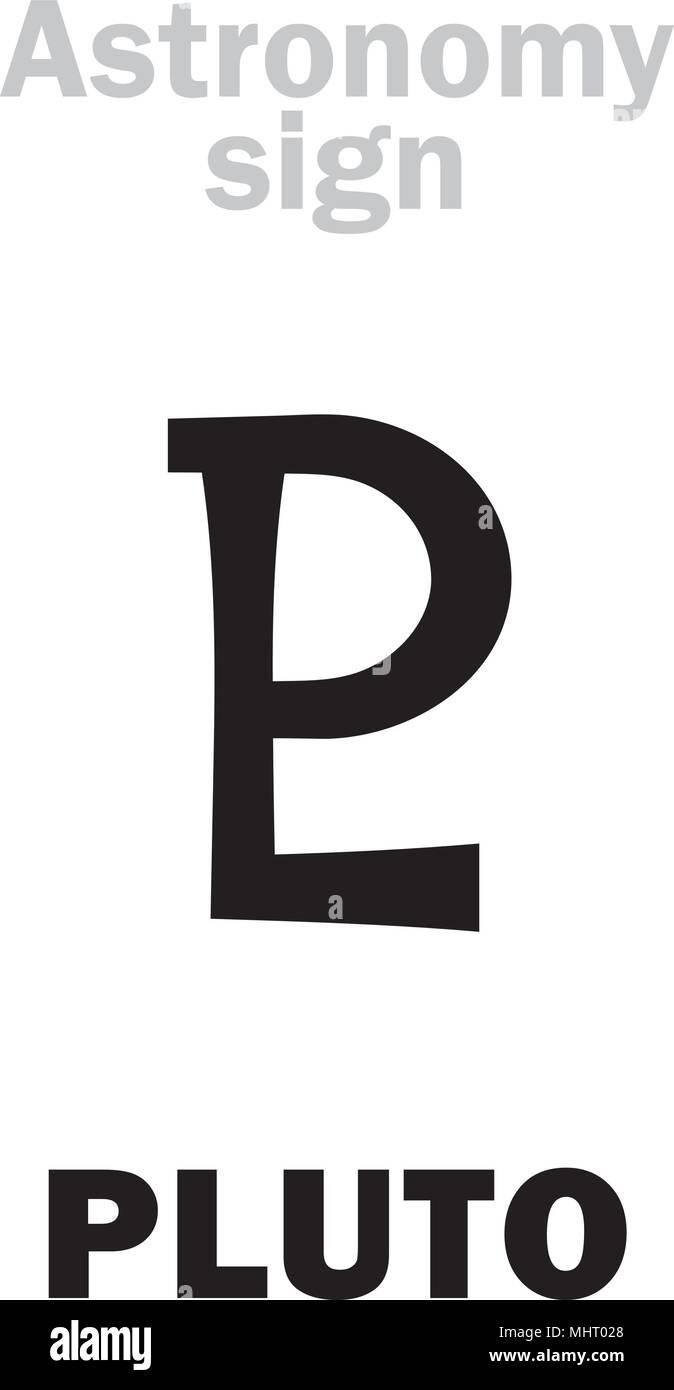 Astrology Alphabet Sign Of Pluto Pl Planetoid Hieroglyphics