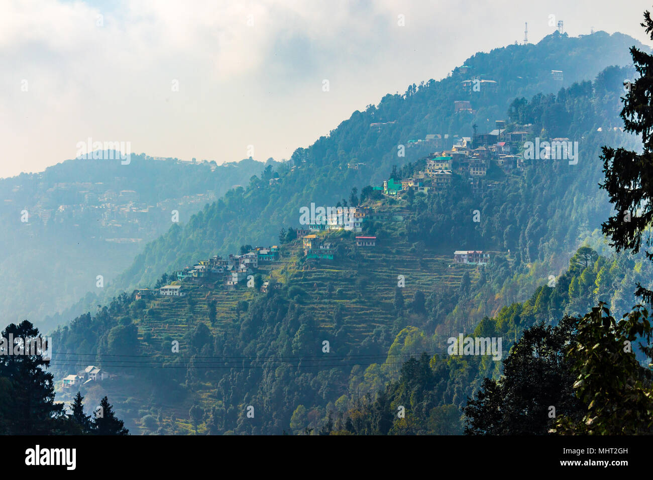 Beautiful homes in the town of Dalhousie, Himachal Pradesh, India, Asia. - Stock Image