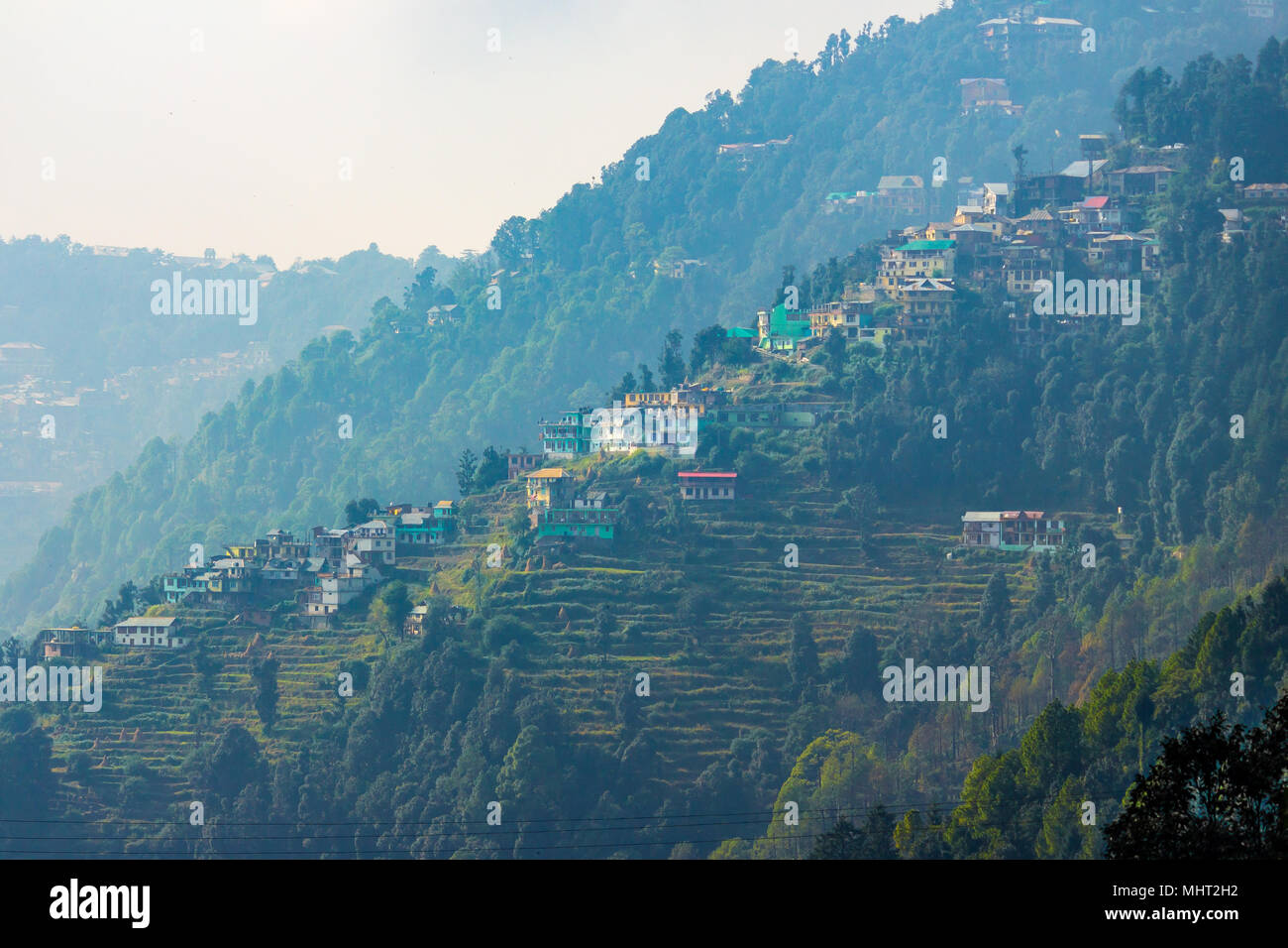 Beautiful homes in the town of Dalhousie, Himachal Pradesh, India, Asia. Stock Photo