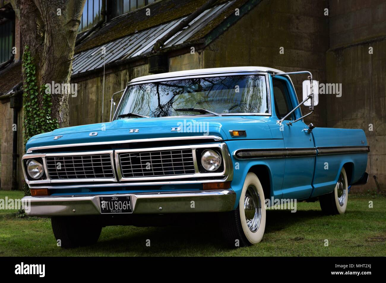 Ford F100 Stock Photos Images Alamy 1951 1953 F1 Pickup Truck Blue 1969 On Display At The Sunday Scramble Bicester Heritage In
