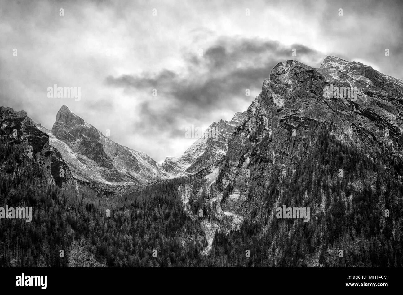 berchtesgaden lake and mountain park in winter Stock Photo