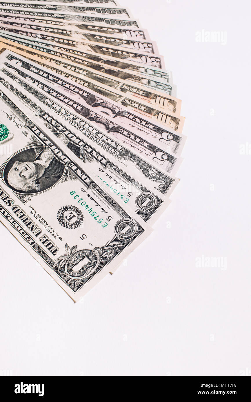 United states of America dollars currency background, USA money banknotes on white background. - Stock Image