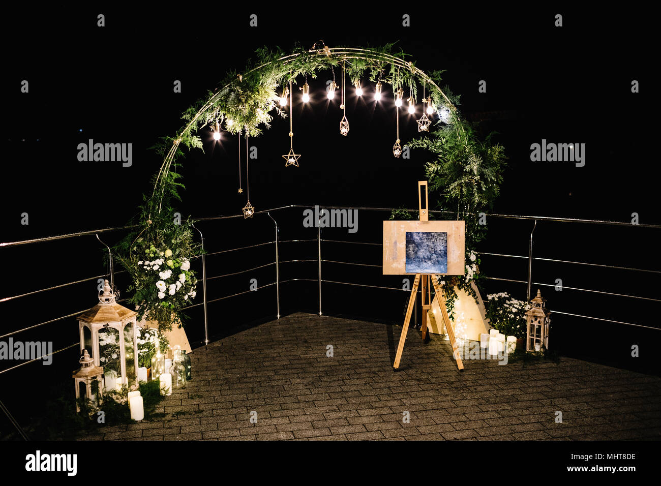 Light Bulb Decor In Outdoor Party Stock Photo Alamy