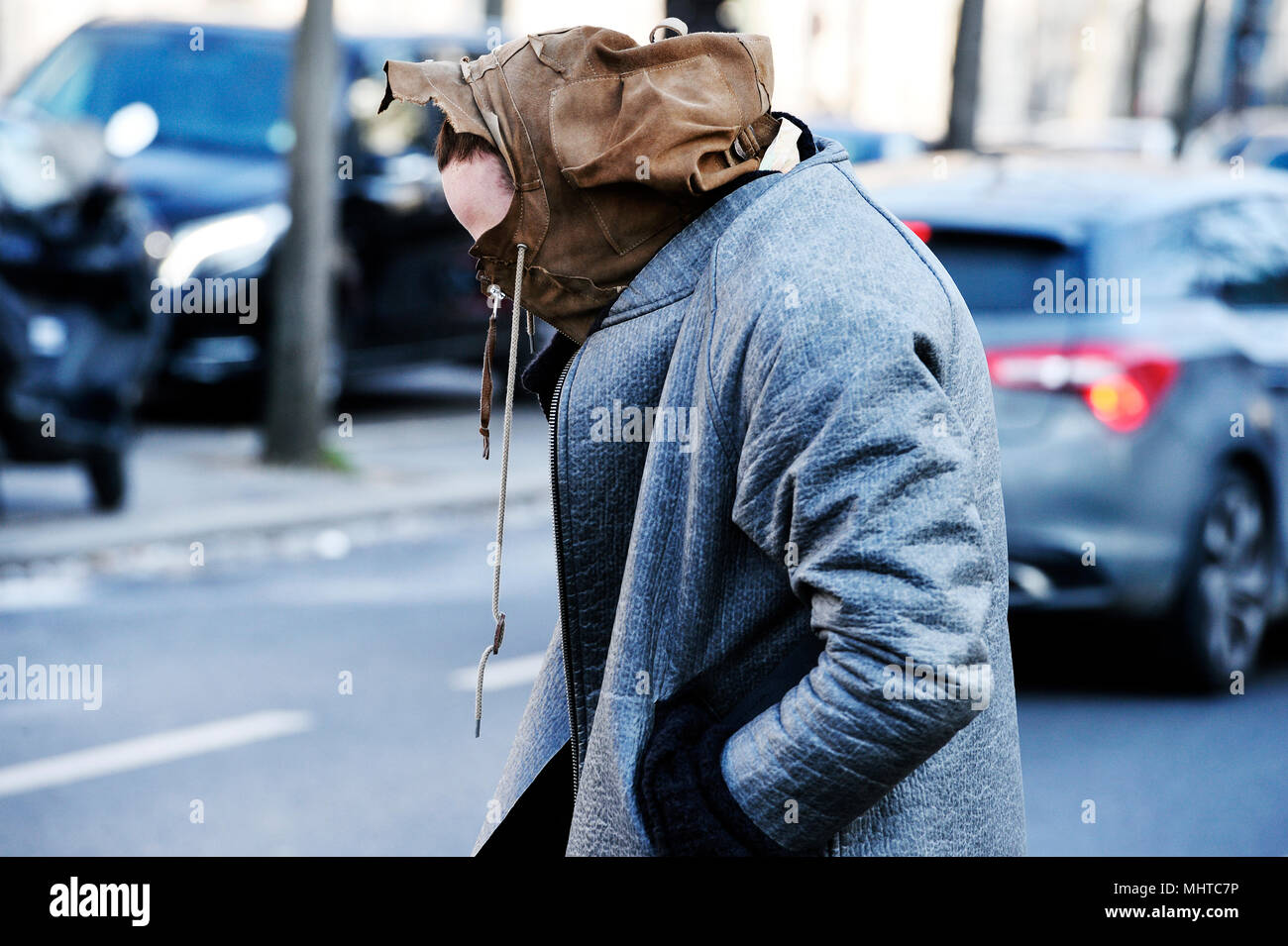 Man with a hood - Paris - France Stock Photo