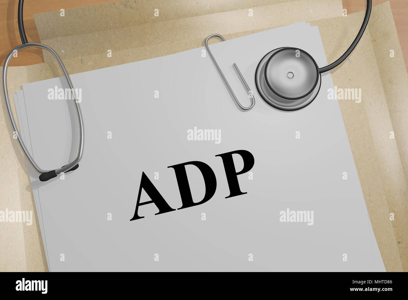 3D illustration of ADP title on a medical document Stock Photo