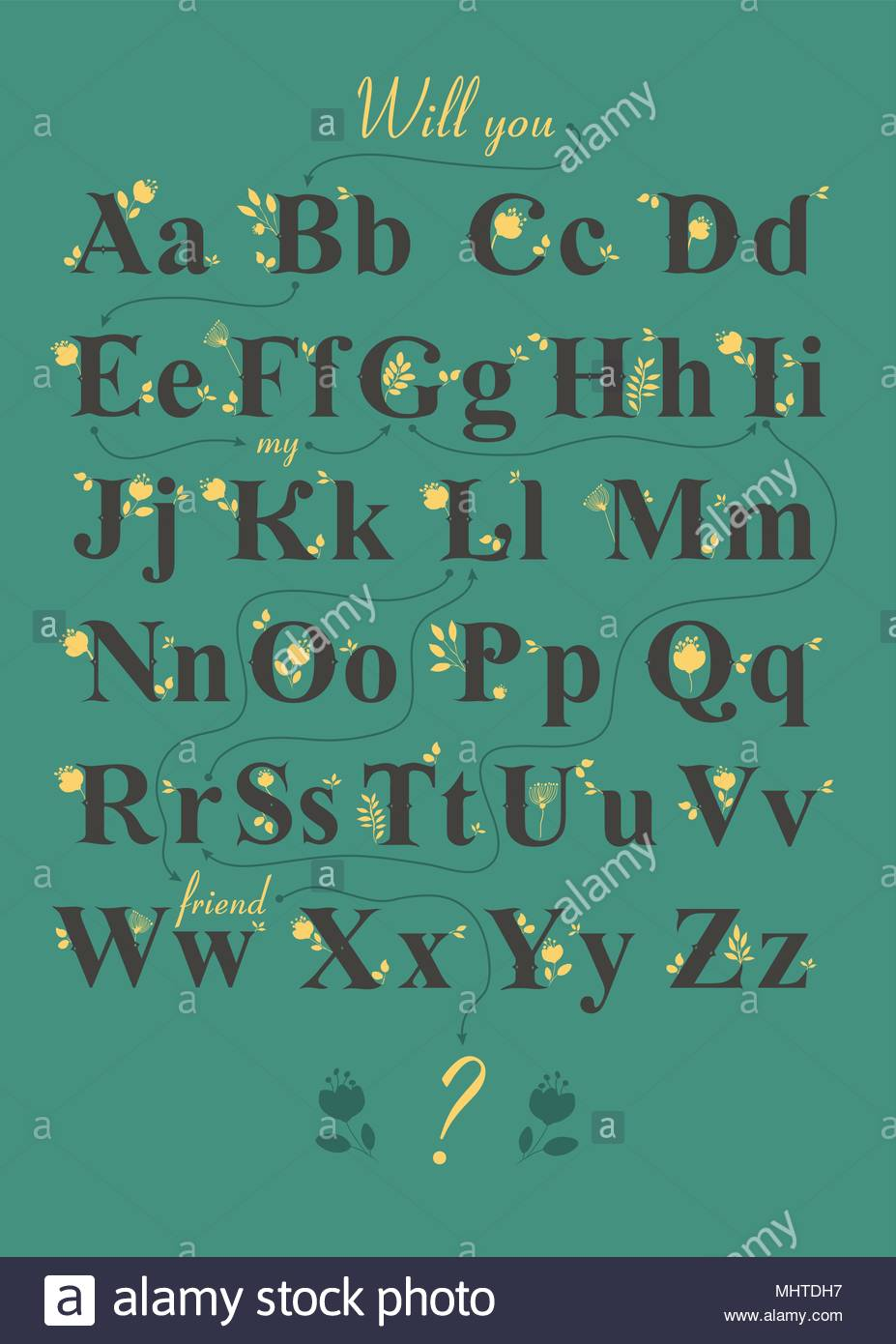 Artistic Alphabet With Encrypted Romantic Message Will You Be My