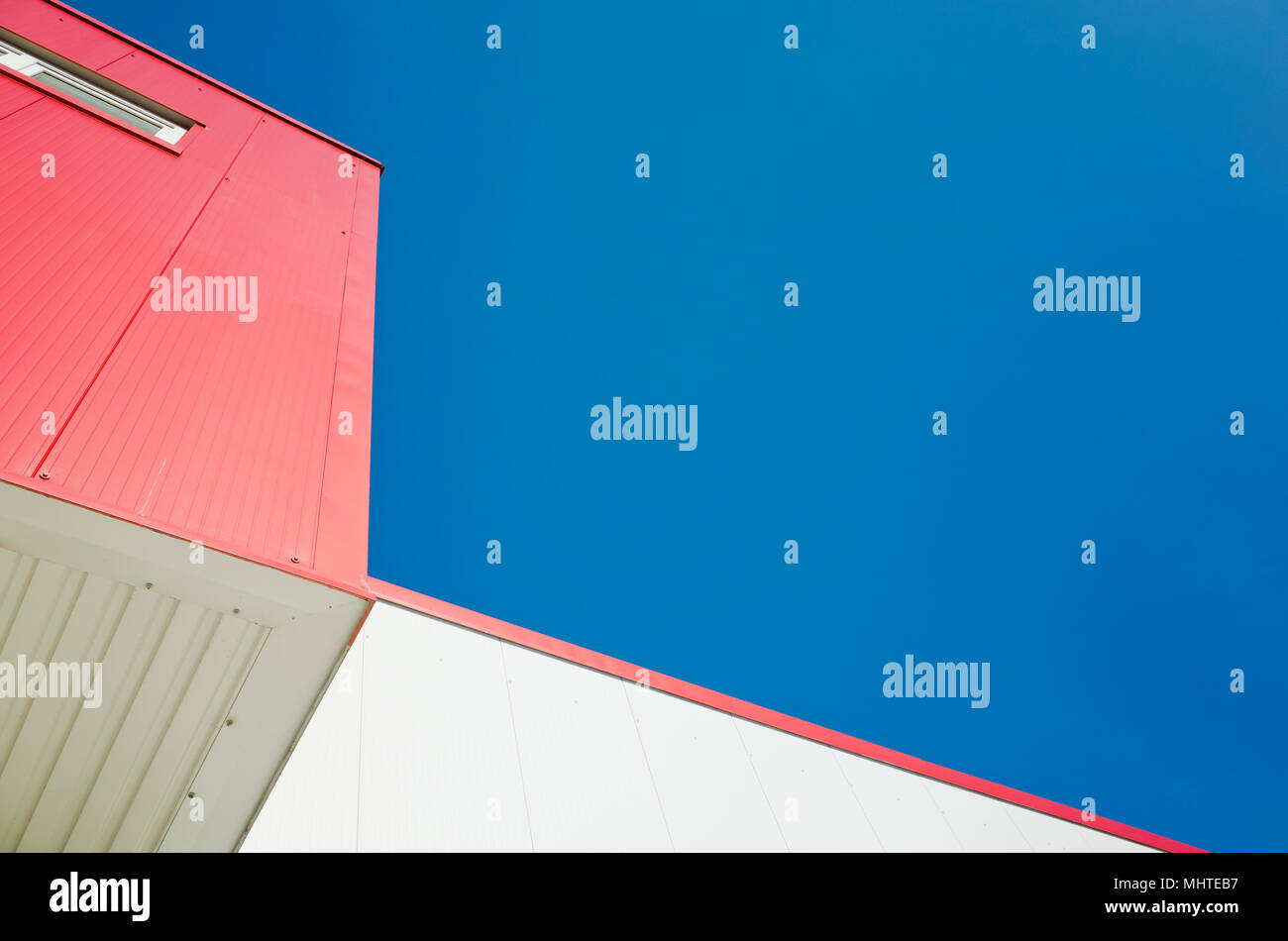 red and white modern building detail Stock Photo