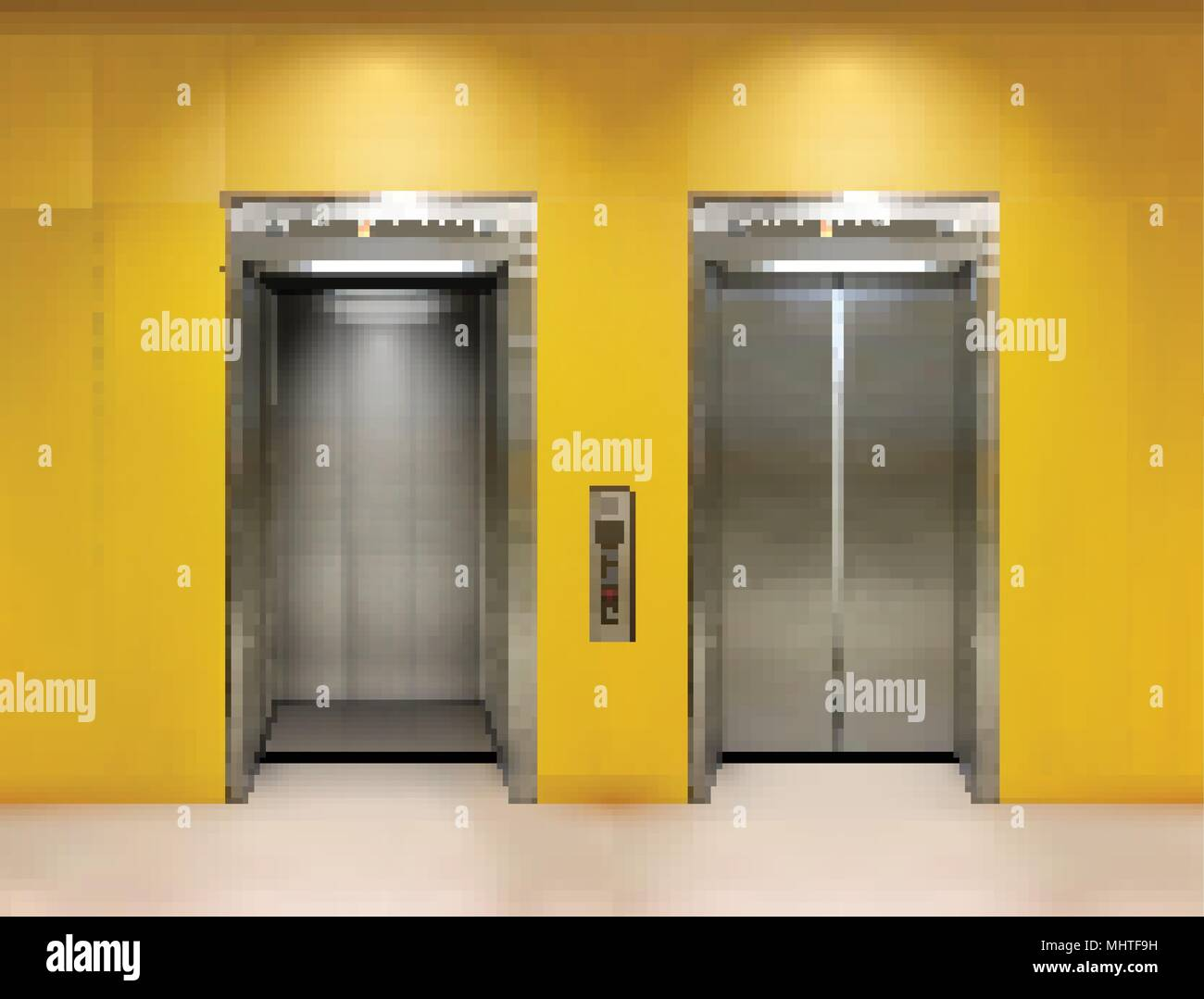 Chrome metal office building elevator doors  Open and closed