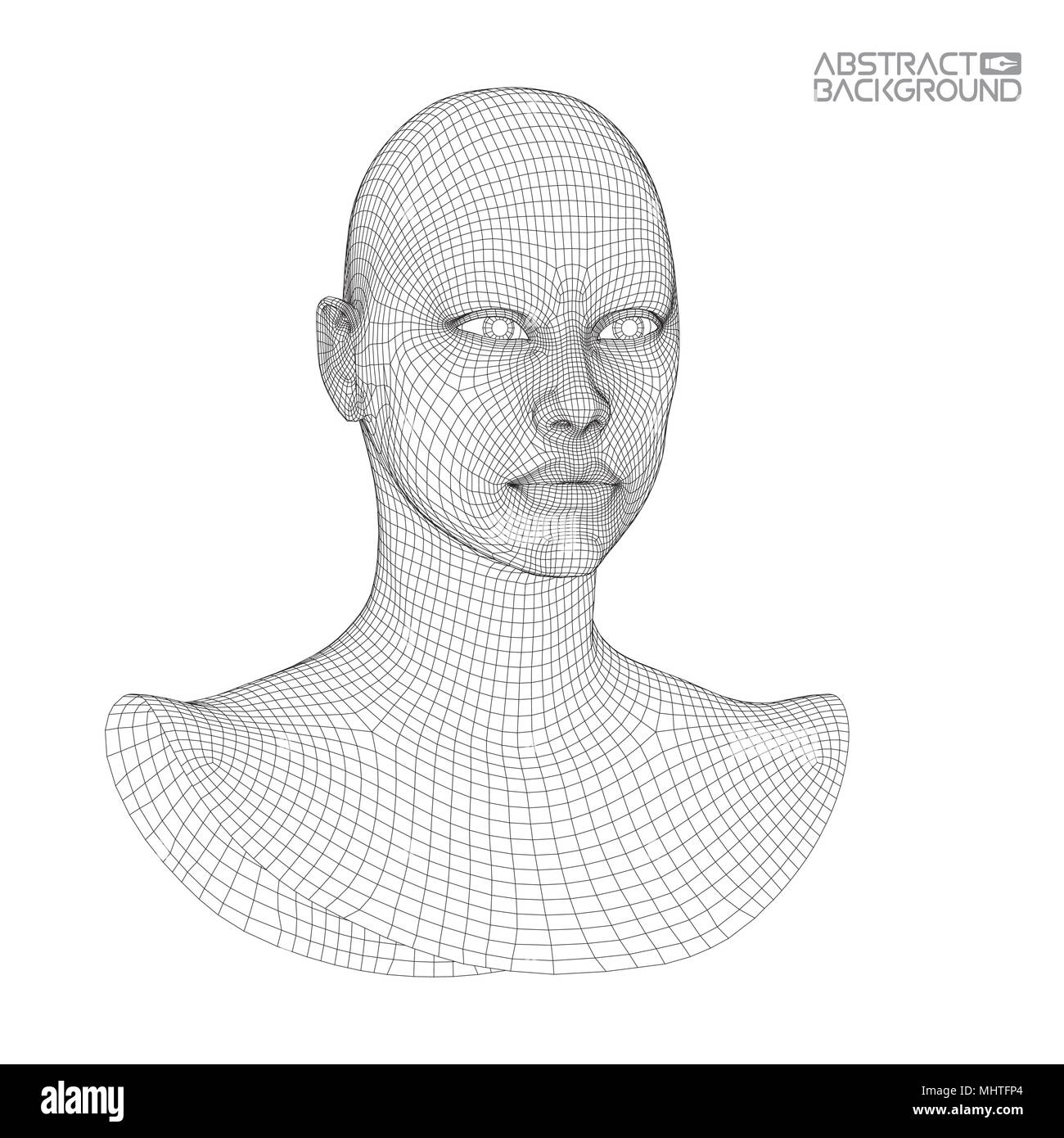 Ai digital brain. Artificial intelligence concept. Human head in ...