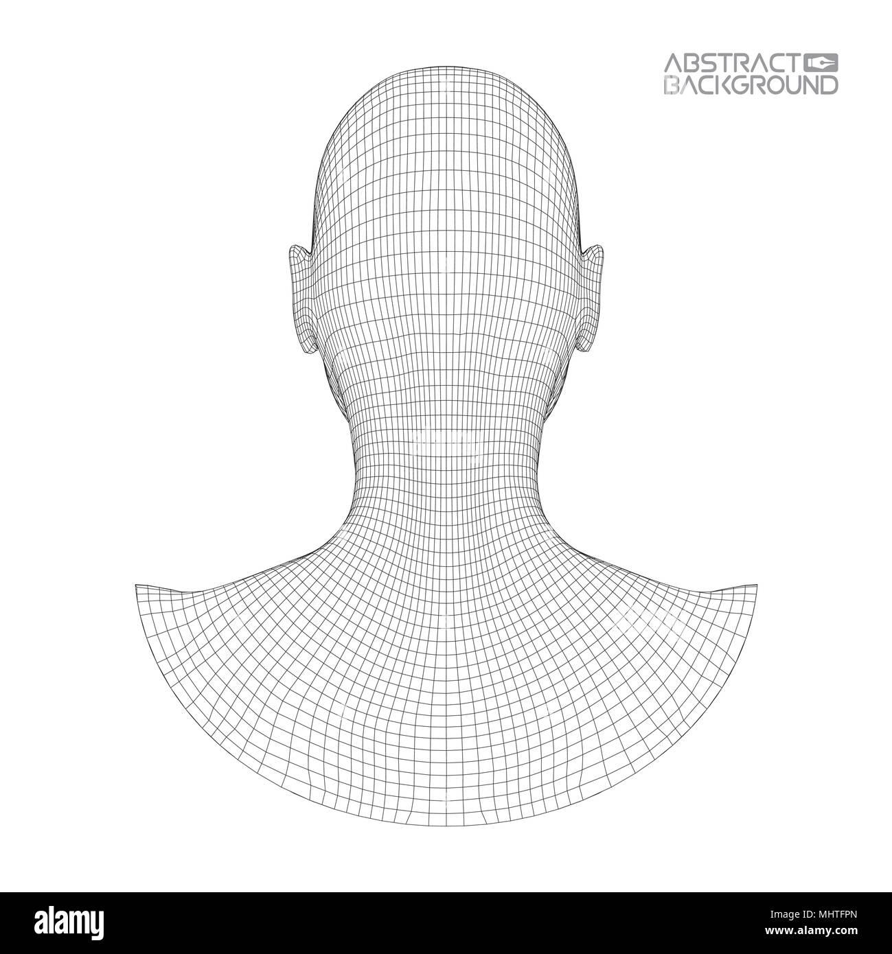 Ai digital brain. Artificial intelligence concept. Human head in ...