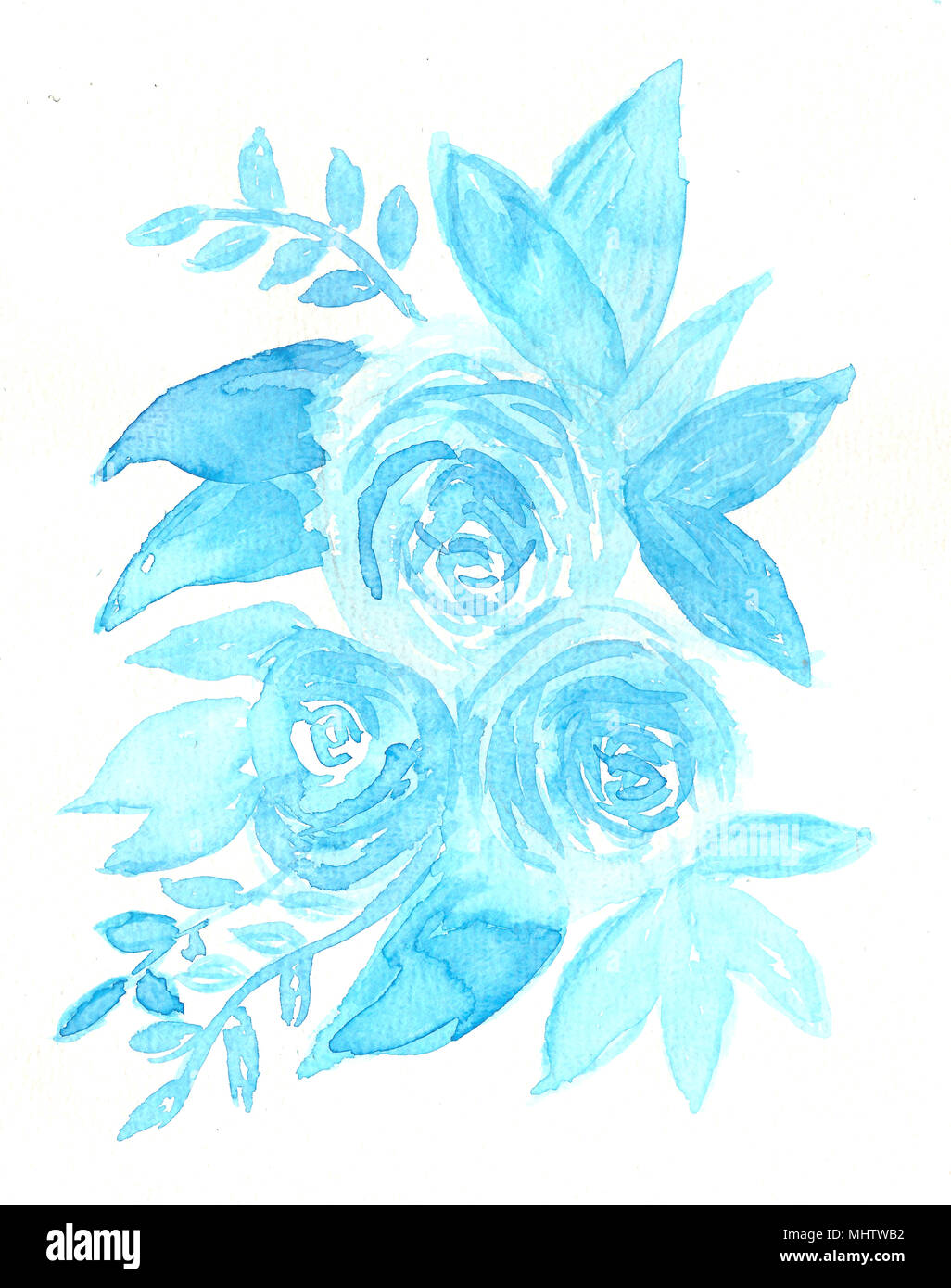 Hand drawn watercolor blue flowers and leaves stock photo 183099590 hand drawn watercolor blue flowers and leaves izmirmasajfo