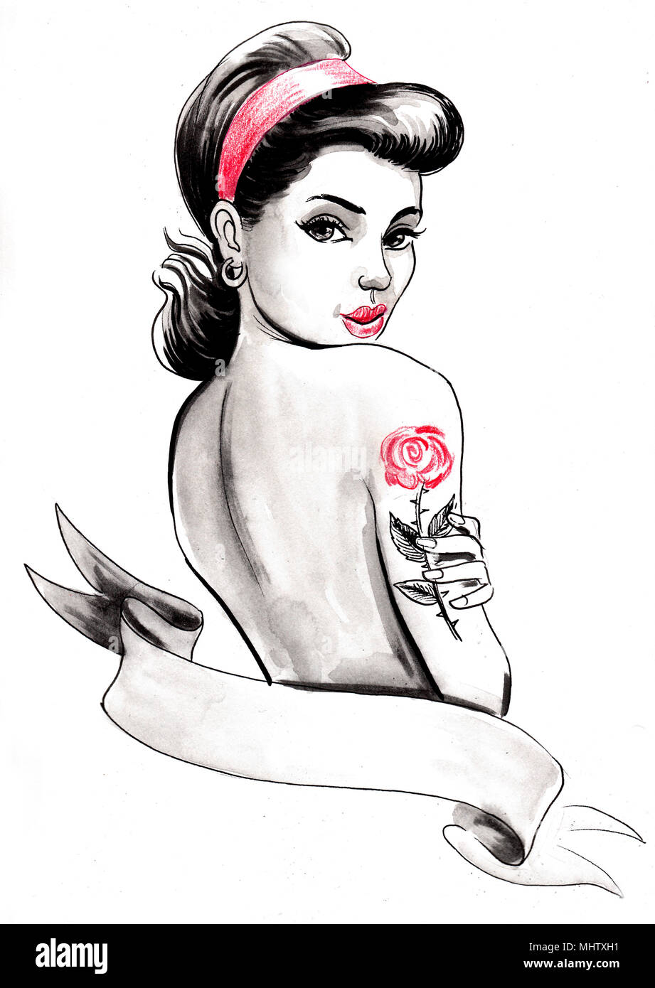Favoriete Pretty pin-up woman with a rose tattoo on her shoulder Stock Photo @GF08