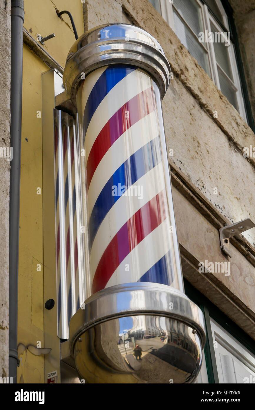 Barber shop sign, Chiado district, Lisbon, Portugal - Stock Image