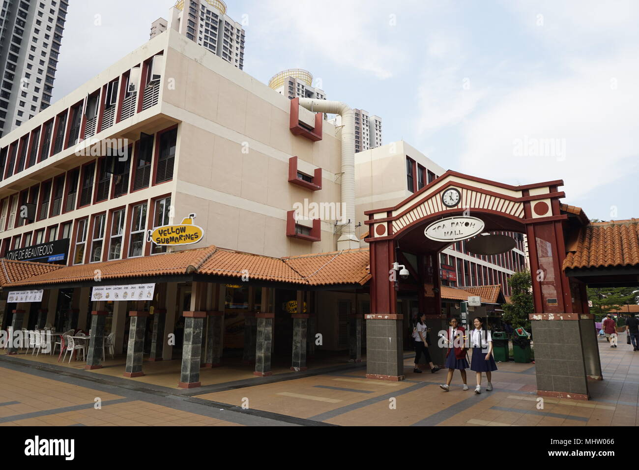 Toa Payoh mall, Singapore. Shophouses located within a matured residential area. - Stock Image