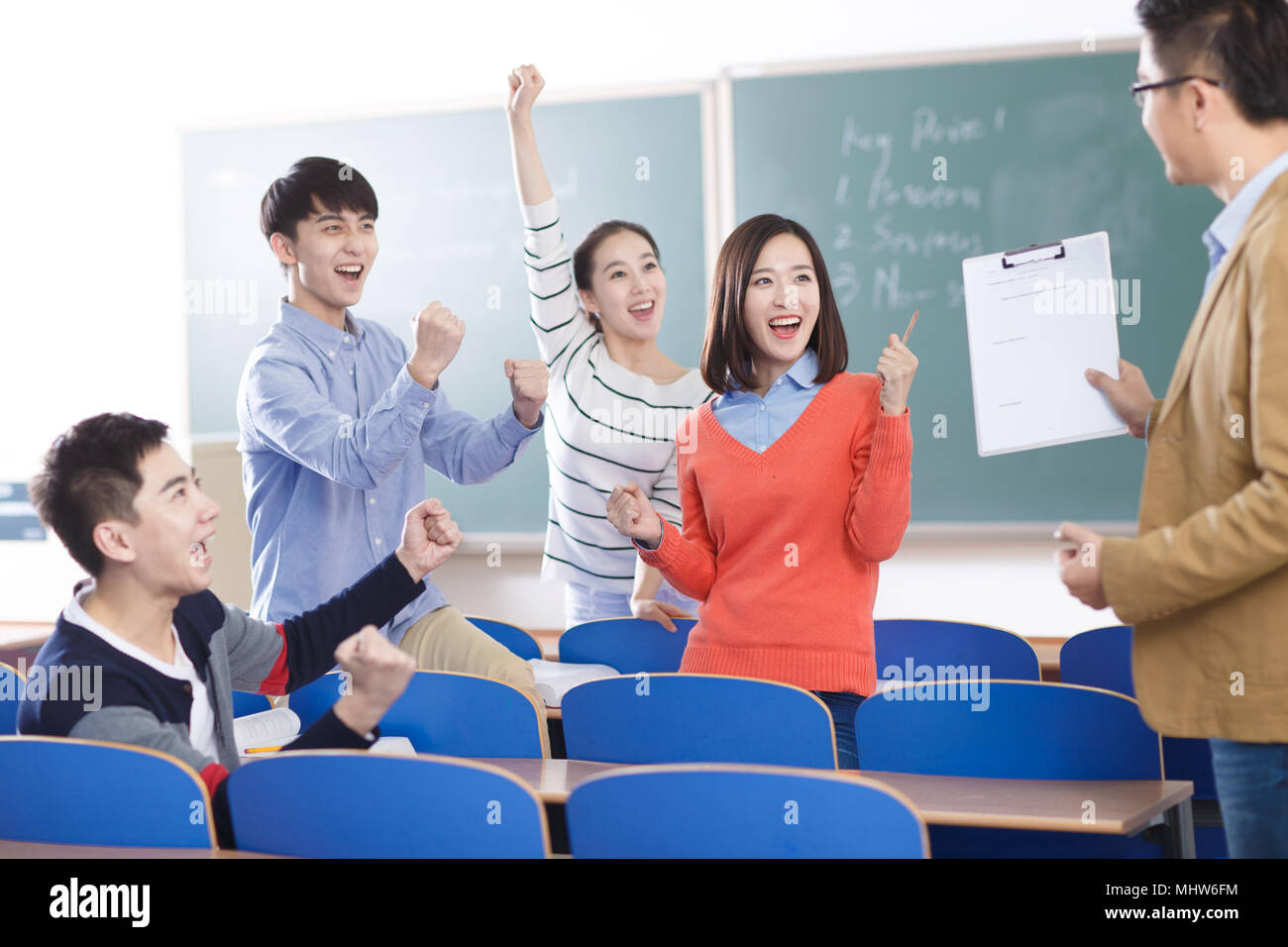 The excitement of teachers and students - Stock Image