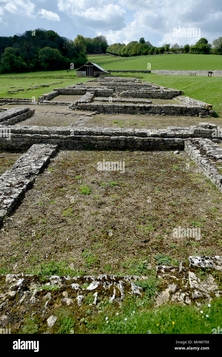 North Leigh Roman Villa is set in countryside on the banks of the River Evenlode in Oxfordshire. The Villa is considered one of the largest villas in  Stock Photo